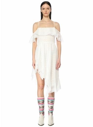 Etoile Isabel Marant Etoile Isabel Marant  Düşük Omuzlu Asimetrik Midi Elbise 101601850 Beyaz